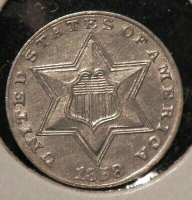 RARE 1858 3c THREE CENT SILVER PIECE MS BU UNC ++++ BUY IT NOW OR OFFER