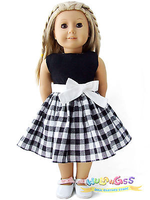 """Doll Clothes fits 18"""" American Girl Handmade Cute Gingham Party Dress"""