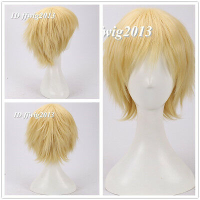 Homestuck Dave Strider Short Yellow Blonde Anime Cosplay Wig CC22 Gift+a wig cap