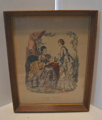 Vintage Wood Framed Victorian Advertising Fashion Print La Mode Illustree 2