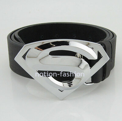 Western New Silver Classic Leather Mens Superhero Superman Metal Belt Buckle