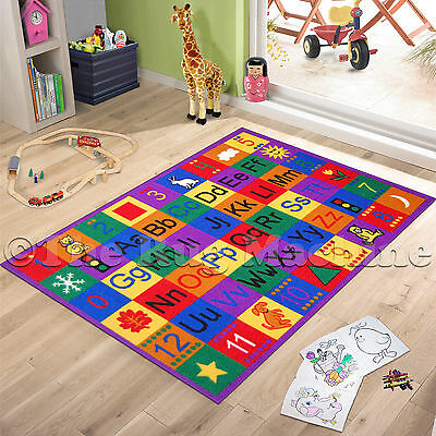 ALPHABET LETTERS FUN PLAY KIDS RUG 100x150cm NON-SLIP & WASHABLE **NEW**