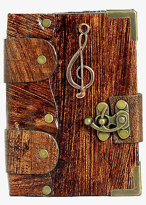 Music Note Pendant Brown Leather Journal Diary Sketchbook Notepad