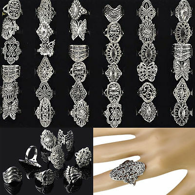 20Pcs Wholesale Lots Jewellery Mixed Vintage Hollow Style Silver Tone Rings Hot