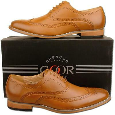 Mens New Tan Lace Up Leather Lined Formal Brogues Shoes Size 6 7 8 9 10 11 12
