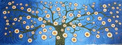 Abstract Tree  Blue Aborignal Art Canvas Painting 2100mm Commission