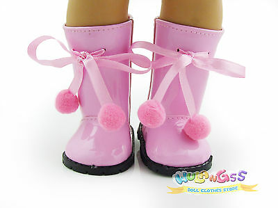 Doll Shoes for 18'' American Girl Pink Imitation Patent Leather Boots with bow