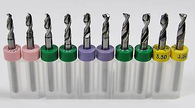 """10 Piece Drill Set - .110 to .1299"""" - 2.80mm to 3.30mm - Carbide 1/8"""" Shanks R4"""