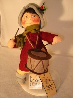 """RARE 1996 ANNALEE DRUMMER BOY DOLL DRESSED IN RED - 12"""" TALL"""