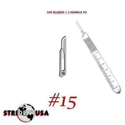 100 Scalpel blades  #15   for surgical dental medical veterinary blades + HANDLE