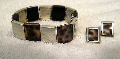 Jewelry COOKIE LEE silver tone Leopard STRETCH BRACELET MATCHING EARRINGS