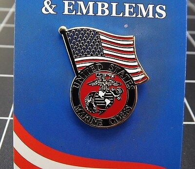 """BRAND NEW Lapel Pin USMC United States Marine Corps With American Flag 1 3/16"""""""