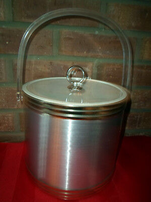 VINTAGE ICE BUCKET BY SHELTON WARE SILVER MIDDLE GOLD/SILVER TRIM CLEAR LID VGC