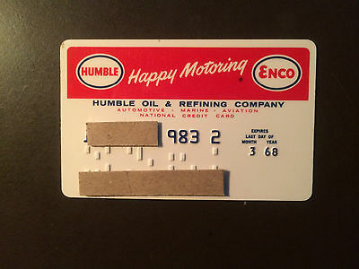 Humble Oil & Refining Company 1968 Vintage Collectors Credit Card