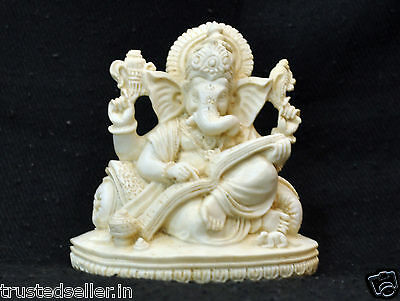 READING GANESHA STATUE FIGURE HANDICRAFT HAND MADE OF MARBLE ART DECOR HOME GIFT