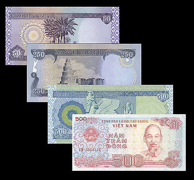 Iraqi Dinar 800 = 500, 250, 50  notes And Receive A FREE 500 Viet Nam Dong