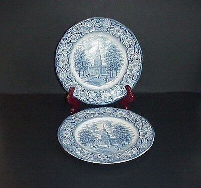 Liberty Blue Lunch Plates Independence Hall England Set 2