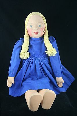 WPA Doll Milwaukee Handicraft Project Molded Cloth Face Marked Teachers College