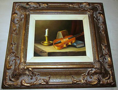 Framed Original Still Life Oil Painting by Homer. Violin, Candle, Books.