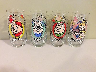 1985 Alvin and The Chipmunks Promo Glasses Complete Set of 4