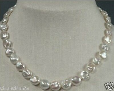 """10-12mm south sea keshi white pearl necklace AAA 18"""""""