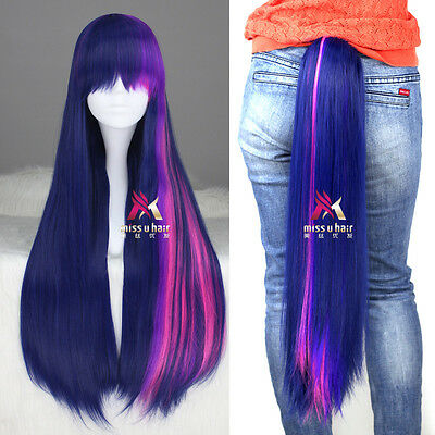 My Little Pony Twilight Sparkle Long Straight Anime Cosplay Wig Ponytail Set