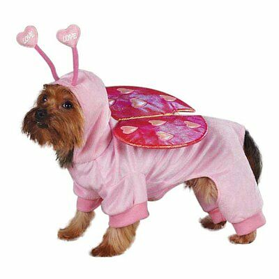 LOVE BUG Dog Costume Pink Full-Body Bright Foil Wings Hood w/ Antennae CUTE