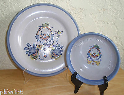 Louisville Stoneware Childs Plate & Bowl Clown Pottery
