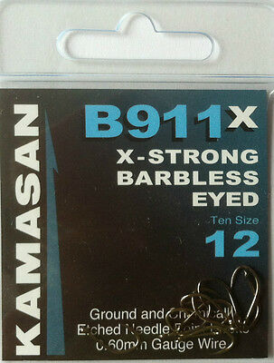 KAMASAN B911x X-STRONG  BARBLESS EYED HOOKS (All sizes available)