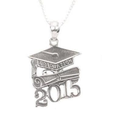 """Sterling Silver 2015 GRADUATION CAP,DIPLOMA Pendant/Charm, Made in USA,18"""" Chain"""