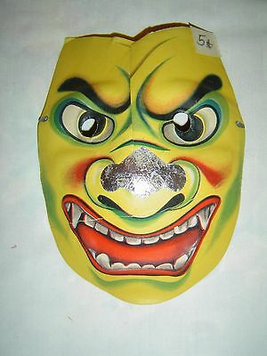Vintage DEVIL Molded Paper Halloween Mask #28 - OLD STORE STOCK - 5 Cents Unused