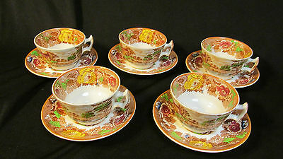 Wood & Sons England Enoch Woods English Scenery Cup and Saucer five sets