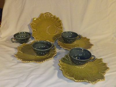 8 PC STEUBENVILLE WOODFIELD POTTERY GREEN SALAD & SNACK PLATES, CUP/SAUCER