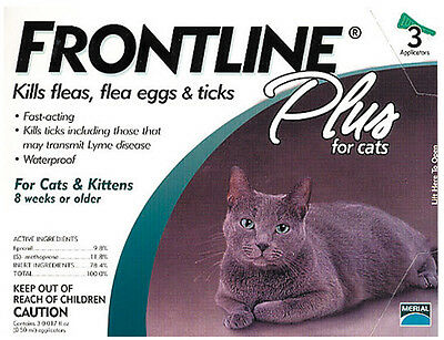 Frontline Plus Cat Flea and Tick Control for Cats (3 Doses)