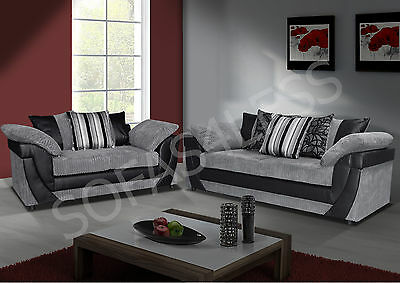 lush 3 + 2 seater sofa + armchair, faux leather & fabric black grey brown beige