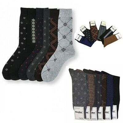 6~12 pairs Lot Knocker Men's Solid Assorted  Print Design Dress Socks size 10-13