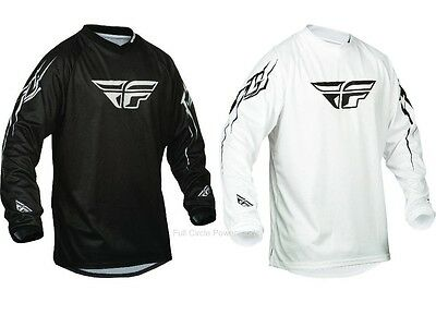 Fly Racing Universal Bk/Wht Jersey Motocross Off-Road Dirt Riding MX/ATV/BMX/MTB