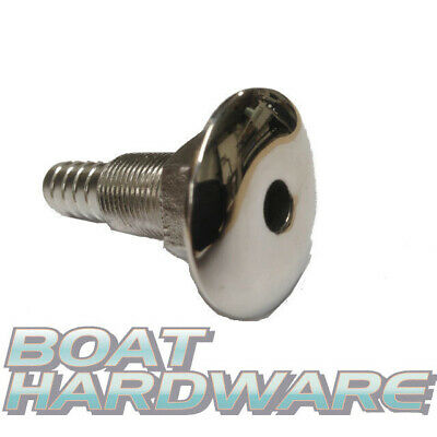 "Boat Skin Fittings 316 SS 1/2"" hose connection through hull outlet Ball Valve"