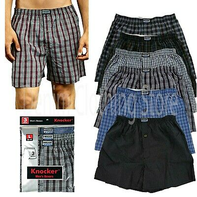 Lot Of 3 Men Knocker Boxer Trunk Plaid Shorts Underwear Lot Cotton Briefs S~3XL