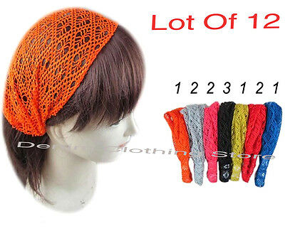 12 pcs Women Fashion Lace Net W/Elastic Turban Head Wrap Headband Bandana Lot