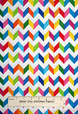 Chevron Multicolor Fabric ~ 100% Cotton By The Yard ~ Timeless Treasures C1523