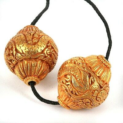 Gilted Collared Bronze Beads - Hand Worked Dragon Motif 25mm Length