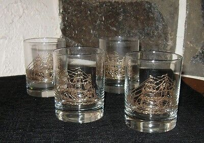 UNIQUE cocktail glasses Gold Tall  ships Applied gold super item