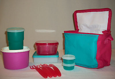 Tupperware PINK TEAL Lunch ~Sandwich ~Tumbler ~Smidgets ~Servalier ~Insulated To