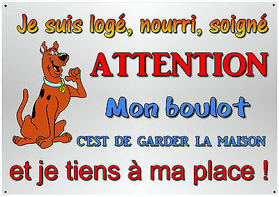 plaque attention au chien en métal 29x20cm angles arrondis percée 4 coins réf 26