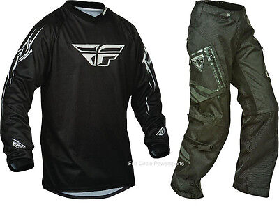 Fly Racing Patrol Black Jersey & Pant Combo Sizes Over-The-Boot Dirt Bike Gear