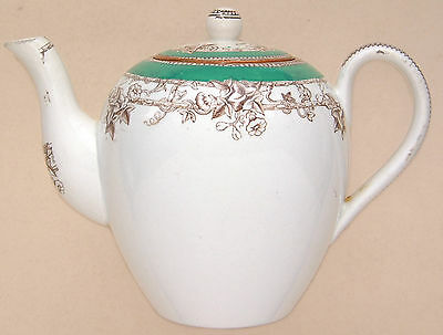 """Copeland: Small (Childs?) Green & Foral (D.1971) Teapot. 5½"""" Long"""
