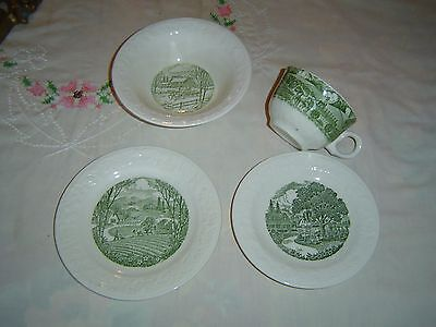 Vintage 4 Pc. Breakfast Set - OATMEAL Preimum Dishes - PASTORAL