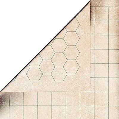 "Chessex Battlemat - RPG Reversible Vinyl Mat 26"" x 23.5"" with 1"" Squares/Hexes"