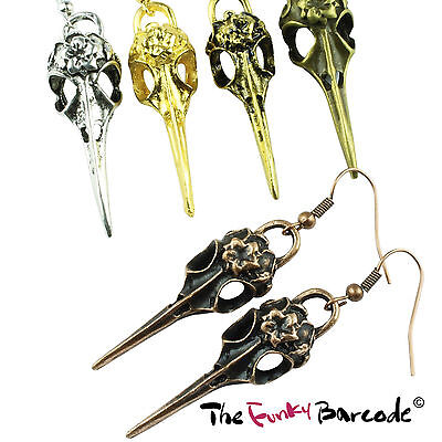 TFB - VINTAGE CROW SKULL DANGLE EARRINGS Gothic Raven Steam Punk Wicca Emo Bird